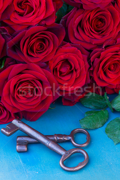 red roses with two keys  Stock photo © neirfy