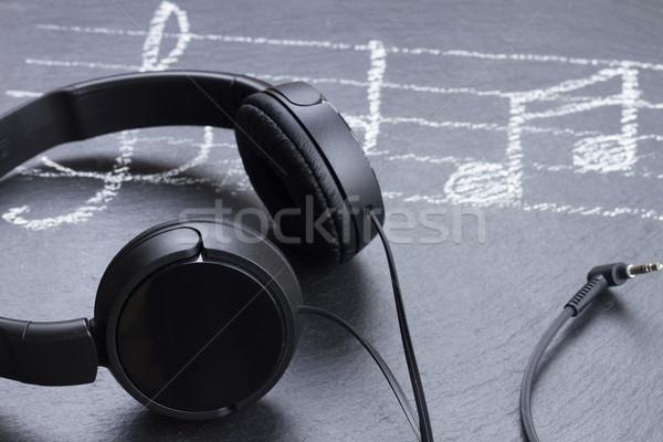 Hangjegyek fejhallgató violinkulcs nagy fekete zene Stock fotó © neirfy