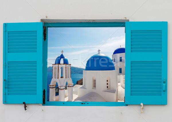 Сток-фото: окна · мнение · Церкви · Санторини · классический · синий