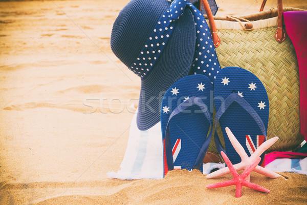 Zonnebaden zandstrand stro zak Stockfoto © neirfy