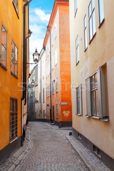 Oude binnenstad straat Stockholm Zweden gezellig smal Stockfoto © neirfy