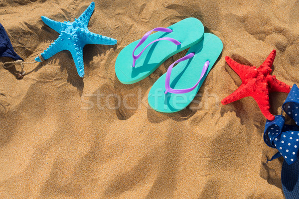 Nyár tengerpart jókedv szandál tengeri csillag copy space Stock fotó © neirfy
