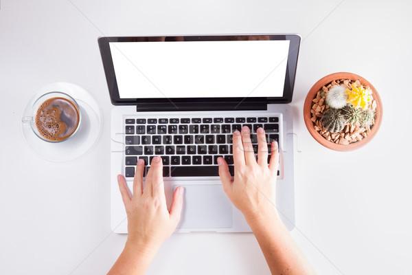 Workspace ноутбука телефон кофе стороны набрав Сток-фото © neirfy