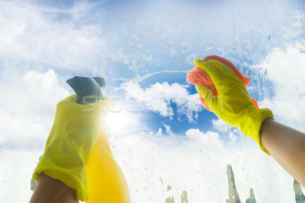 Pulizie di primavera mani giallo guanti spray pulizia Foto d'archivio © neirfy
