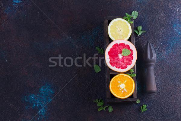Narancs citrom grapefruit színes szeletek citrus Stock fotó © neirfy
