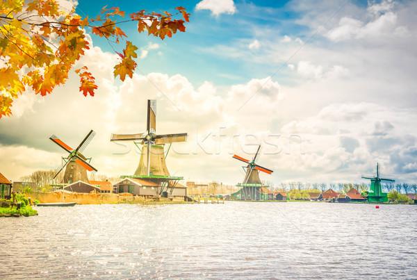 ストックフォト: オランダ語 · 風 · 風景 · 風車 · 川 · 秋