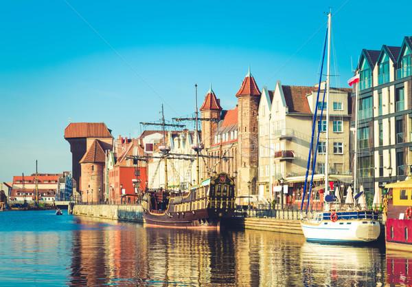 Città vecchia danzica Polonia retro acqua Foto d'archivio © neirfy