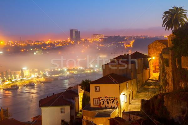 Stockfoto: Villa · Portugal · oude · binnenstad · nacht · huis · stad
