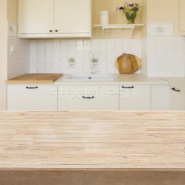 Tablo mutfak ahşap masa ışık modern ev Stok fotoğraf © neirfy