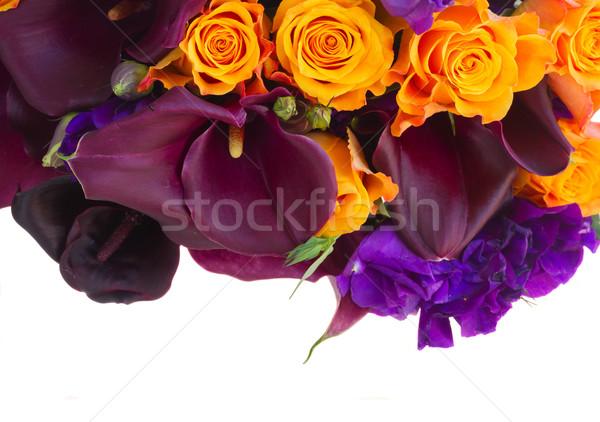 çiçekler buket taze güller sınır yalıtılmış Stok fotoğraf © neirfy