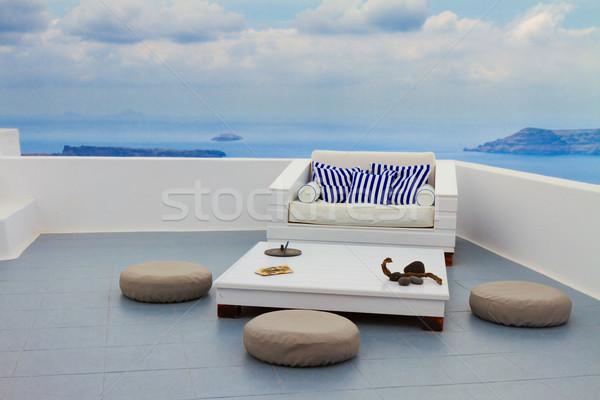 Santorini Görögország megnyugtató kanapé kilátás égbolt Stock fotó © neirfy