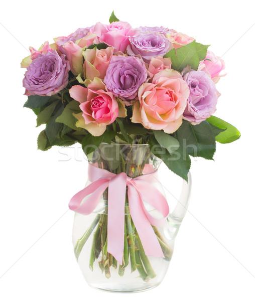 Bouquet frischen Rosen rosa violett inn Stock foto © neirfy