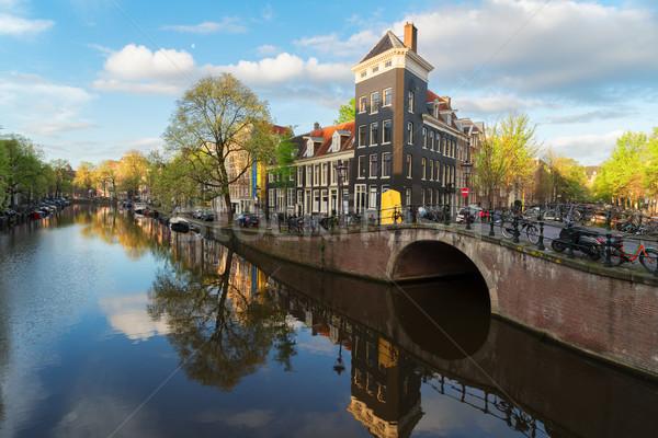 Huizen Nederland nederlands landschap kanaal spiegel Stockfoto © neirfy