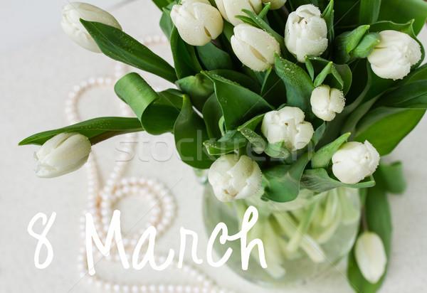 bouquet of fresh  white  tulips Stock photo © neirfy