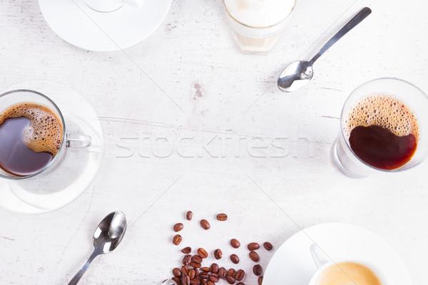 コーヒーブレイク コーヒーカップ コピースペース 白 木製のテーブル コーヒー ストックフォト © neirfy