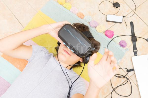 подростку очки мальчика виртуальный Сток-фото © neirfy