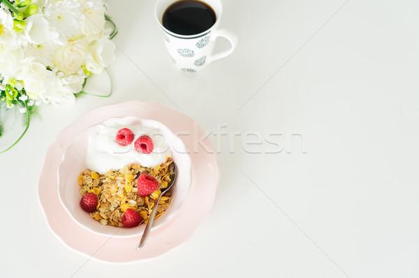 Breakfast with cereles Stock photo © neirfy
