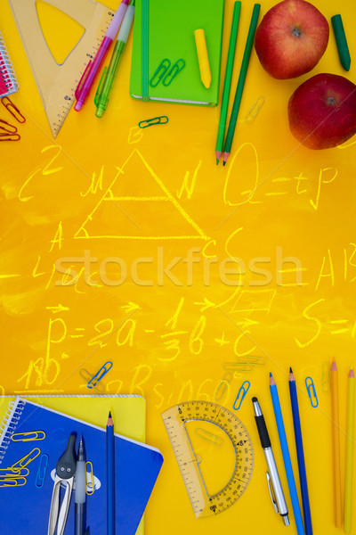 Vissza az iskolába keretek tanszerek citromsárga matematika képletek Stock fotó © neirfy