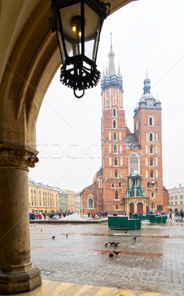 バシリカ クラクフ ポーランド 冬 日 建物 ストックフォト © neirfy