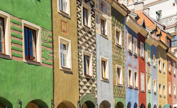 Ortaçağ evler Polonya renkli merkezi pazar Stok fotoğraf © neirfy