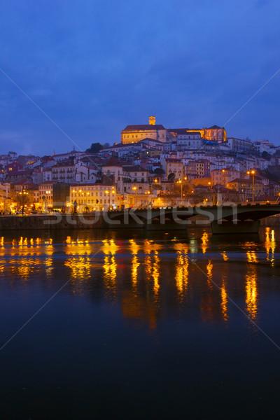 Oude binnenstad Portugal rivieroever nacht huis oranje Stockfoto © neirfy