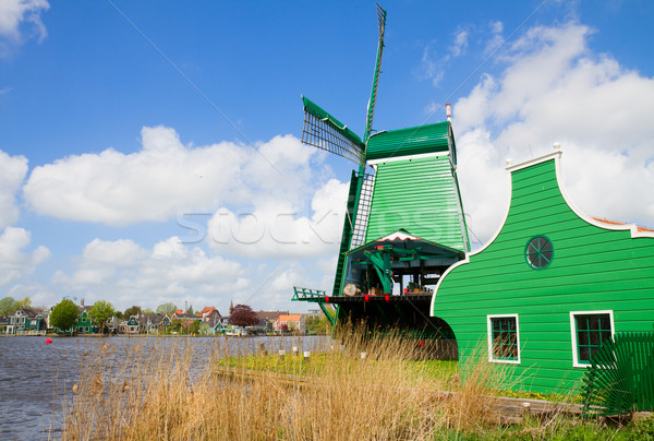 Nederlands groene rivier windmolen water gras Stockfoto © neirfy