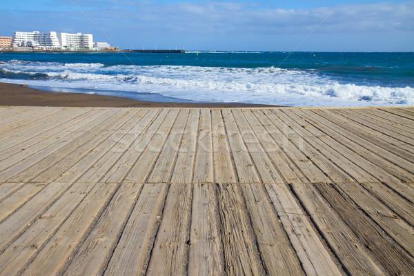 海景 ビーチ 木製 テネリフェ島 スペイン ストックフォト © neirfy