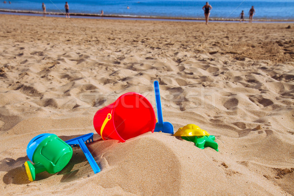 beach toys in sand on sea shore Stock photo © neirfy