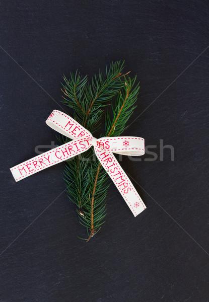 Evergreen allegro Natale arco nero albero Foto d'archivio © neirfy