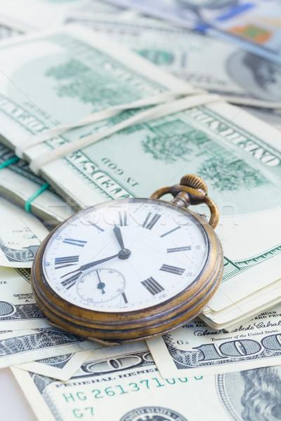 Foto stock: Dinheiro · tempo · velho · relógio · de · bolso · americano