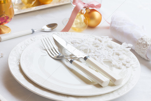 Tafelgerei ingesteld christmas platen witte tafelkleed Stockfoto © neirfy