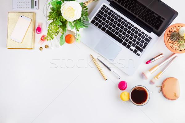 Сток-фото: женский · workspace · Top · мнение · границе · клавиатура