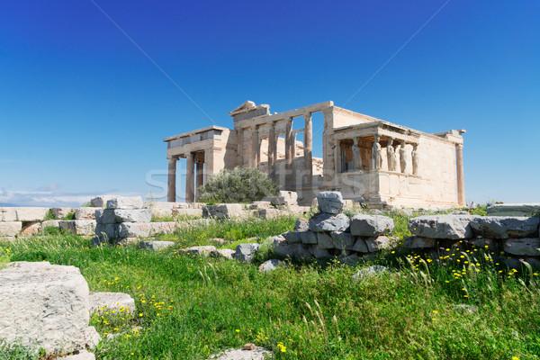 Templo Acrópole Atenas grama verde Grécia cidade Foto stock © neirfy
