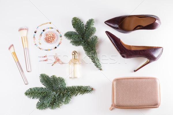 Divat karácsony jelenet sarok cipők táska Stock fotó © neirfy