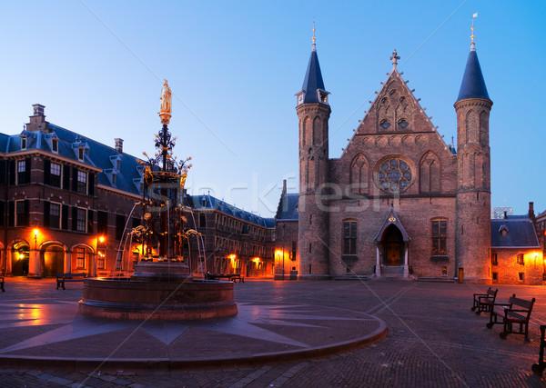 Hollanda parlamento Hollanda gece Bina şehir Stok fotoğraf © neirfy