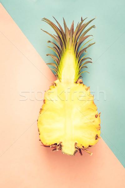 Ananas owoców minimalny stylu górę widoku Zdjęcia stock © neirfy