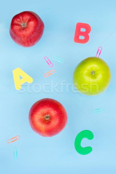 Zurück in die Schule Szene Äpfel Büro Schule Mode Stock foto © neirfy