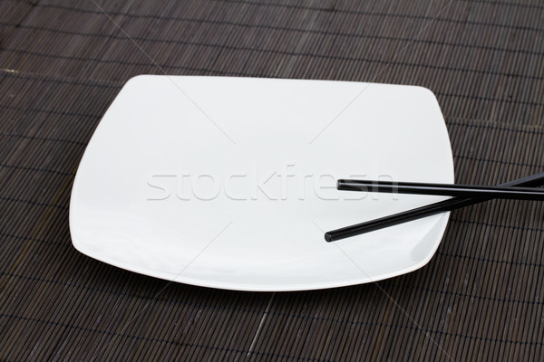 Stock photo: emty plate - asian food concept