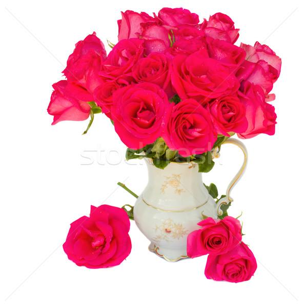 розовато-лиловый роз ваза изолированный белый свадьба Сток-фото © neirfy