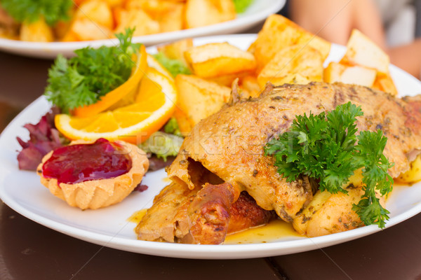 polish traditional dish  - duck with apples and potato Stock photo © neirfy