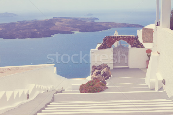 Kilátás vulkán lépcsősor Santorini sziget Görögország Stock fotó © neirfy