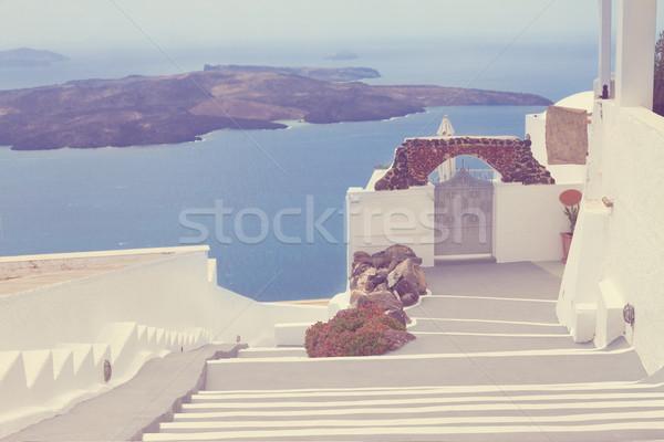 view of volcano caldera with stairs, Santorini Stock photo © neirfy
