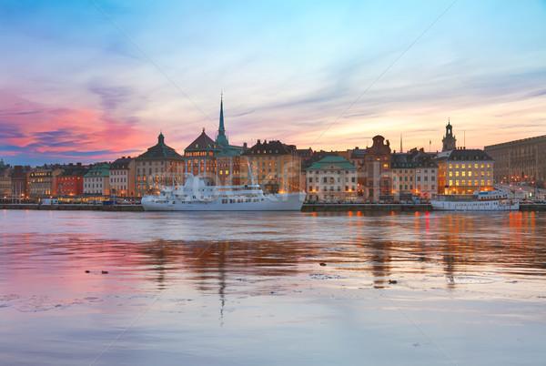 Ufuk çizgisi Stockholm İsveç renkli gün batımı manzara Stok fotoğraf © neirfy