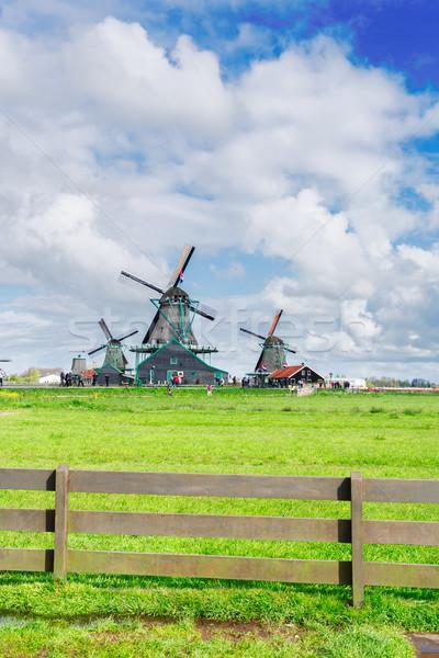 オランダ語 風 伝統的な 風景 風車 夏 ストックフォト © neirfy