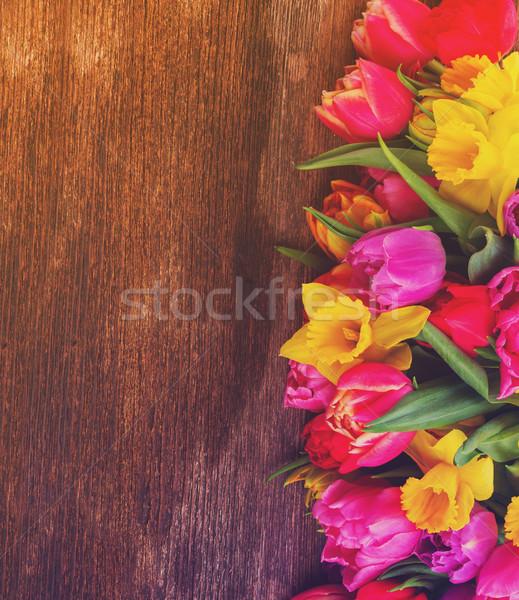 букет тюльпаны нарциссов свежие розовый Purple Сток-фото © neirfy