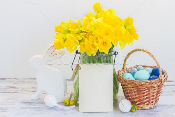 Easter eggs caccia bianco coniglio basket verniciato Foto d'archivio © neirfy