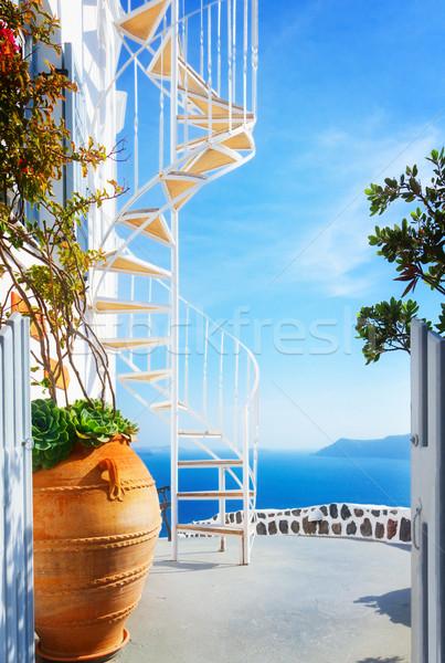 Gyönyörű részletek Santorini sziget Görögország ház Stock fotó © neirfy