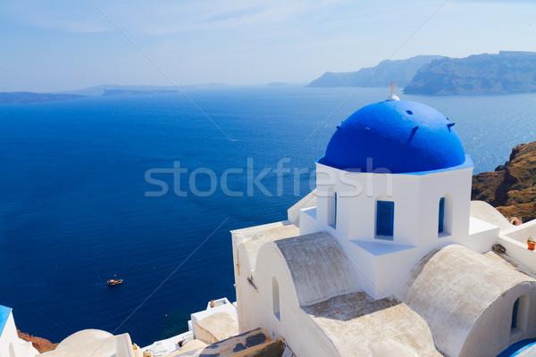 Tradizionale blu cupola mare santorini chiesa Foto d'archivio © neirfy