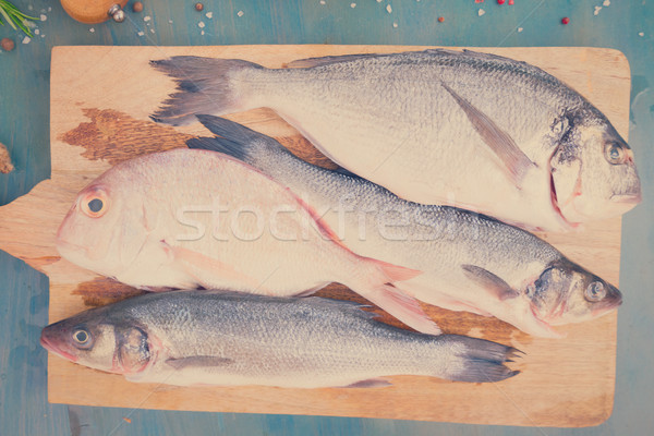Taze deniz balık hazırlık Retro Stok fotoğraf © neirfy