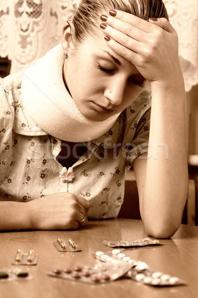 Sepia picture of a sick girl Stock photo © Nejron